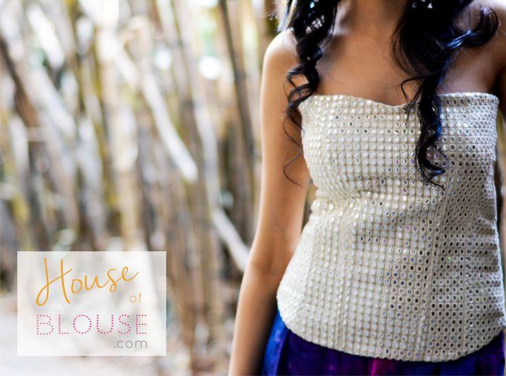 White mirror corset blouse. Design you own now on houseofblouse.com  #saree #blouse #sareeblouse #blousedesigns #desi #indianfashion #india #corset