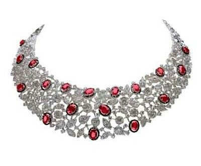 Diamond necklace with ruby.Description by Pinner Mahua Roy Chowdhury