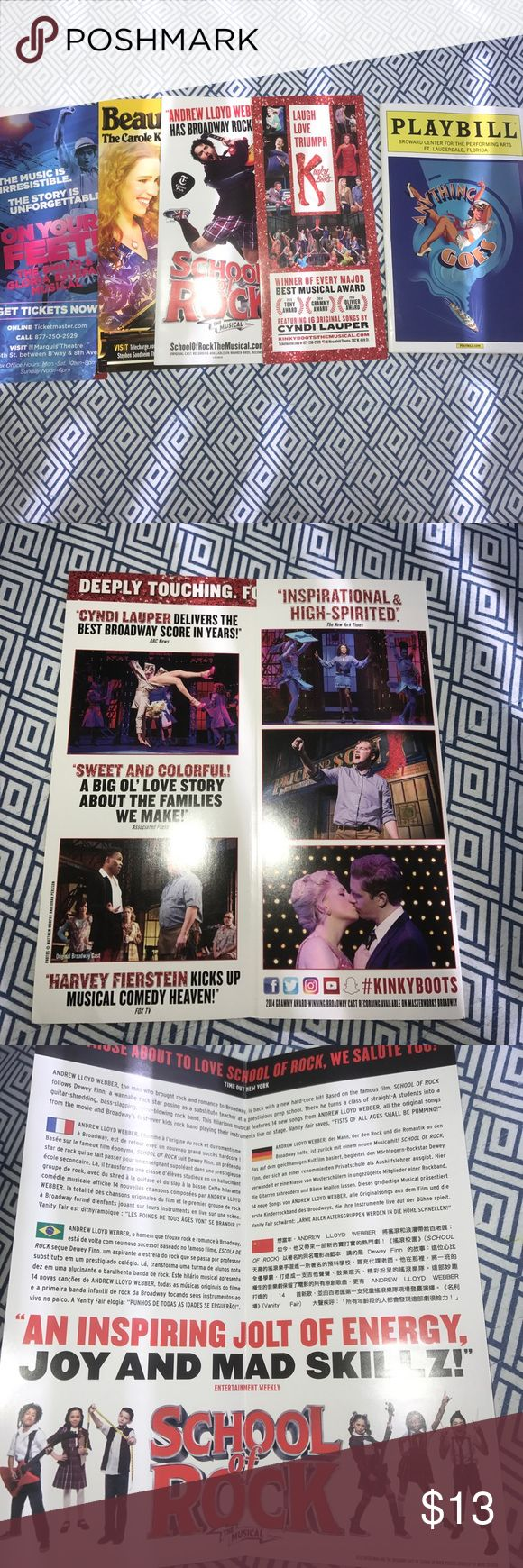 Broadway Musical Bundle! (PlayBill and more!) Bundle includes: Anything Goes Revival National Tour Program, On your Feet! Pamphlet, Kinky Boots Pamphlet, Beautiful The Carole King Musical Pamphlet and School of Rock Pamphlet Other