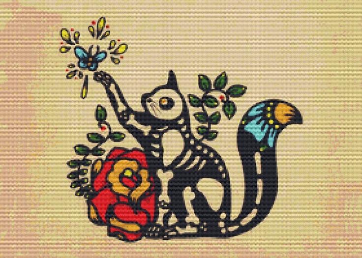 Modern Cross stitch Kit 'Skeleton Cat'