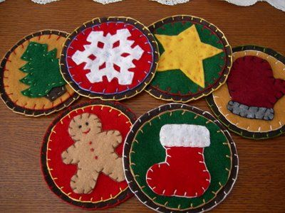 Here are some pictures of the felt coasters I made last week.  I enjoyed making and using my autumn leaf coasters  so much that I went ahea...
