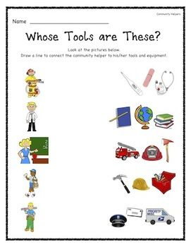 Printables Community Helpers Worksheets 1000 ideas about community helpers kindergarten on pinterest after teaching my unit in i give this assessment assesses whether the students are able to match