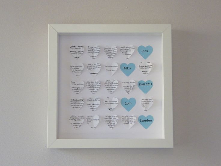 Handmade for you.  This frame design uses paper created from a wedding order of service. This could also be adapted for the order of service for any other ceremony/celebration.   Can be personalised with the message hearts in the colour scheme from the wedding. Ideal gift for a first 'paper' wedding anniversary.  http://www.frames-by-erika.co.uk/product/hearts-small-blue-custom-paper-order-of-service