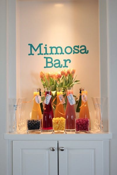 Mimosa Bar Flavors from 11 Magnolia Lane      Mimosa (Champagne and Orange Juice)  Bellini (Champagne and Peach Puree)  Razzle Dazzle (I made up this name but it is simply Champagne and Raspberry Puree)  Strawberry Fizz (Another made up name but simply Champagne and Strawberry Puree)
