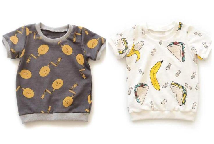 Kostenloses Schnittmuster & Anleitung für ein Kinder-T-Shirt für 0 Monate - 6 Jahre Das 'ringer tee' Schnittmuster von Brindille & Twig ist ideal für