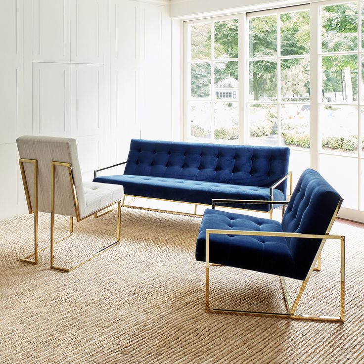 GOLDFINGER APARTMENT SOFA by JONATHAN ADLER | Pared down geometry in polished brass meets swanky navy velvet in our Goldfinger Collection. A little bit '70s, a lot today. |  http://www.bocadolobo.com/ #sofasideas #livingroomdecor