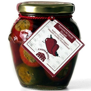 Hot cherry peppers stuffed with a minced blend of garden vegetables, olives, tuna, anchovies, capers and herbs