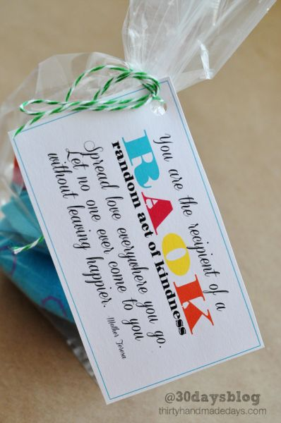 Random Act of Kindness Label for a Cookie Bag