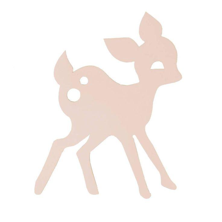 How cute! Dit schattige My Deer wandlampje van Ferm Living is erg leuk voor de kinderkamer. Het lampje is gemaakt van hout, welke licht roze geverfd is. Leuk te