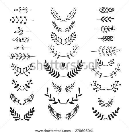 Set of vector handdrawn laurels, wreath,  nature, floral doodle collection. Decoration elements for design invitation, wedding cards, valentines day, greeting cards