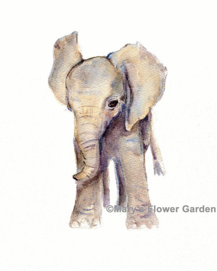 olifant kwekerij decor aquarel olifant art print olifant