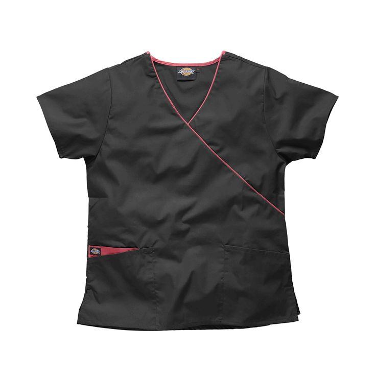 Black Dog Grooming Top| Dickies Mock Wrap Scrub Top HC11601 | Dickies Ladies Workwear | – ClothesRack