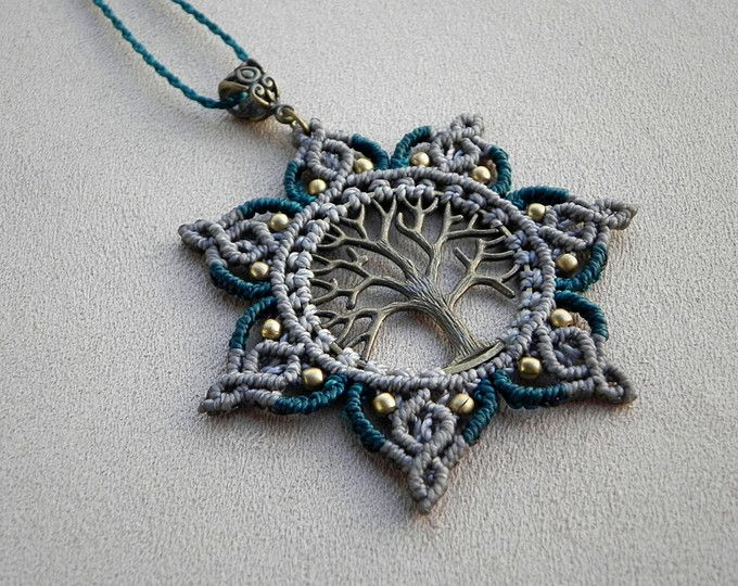 Macramé Necklace. Tree Of Life. Mandala. Gypsy necklace.