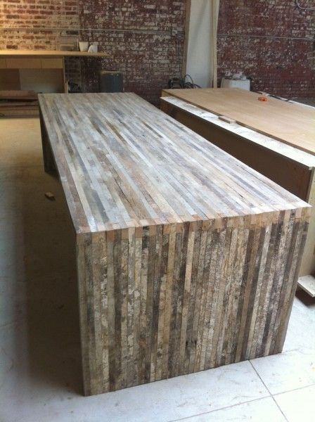 Love this refurbished table barnwood as a modern rustic