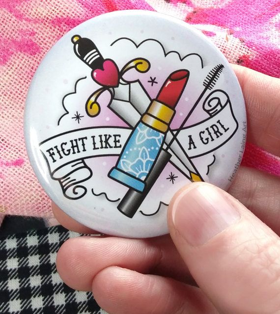 Fight like a girl  Traditional tattoo Pocket by HeatherLaingArt