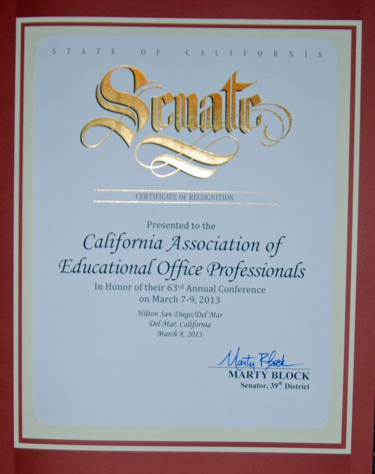 CAEOP honored by Senator Marty Block, 39th District for the 63rd Annual CAEOP Conference.