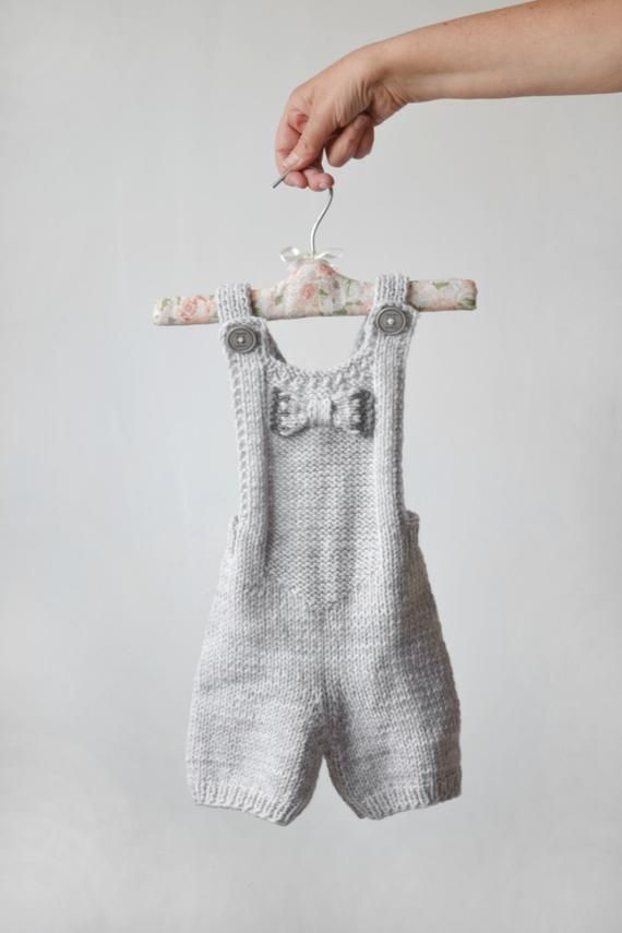 Hand knit baby romper, light grey romper, newborn gift, knitted baby photo prop, romper with bow, ba – Etsy
