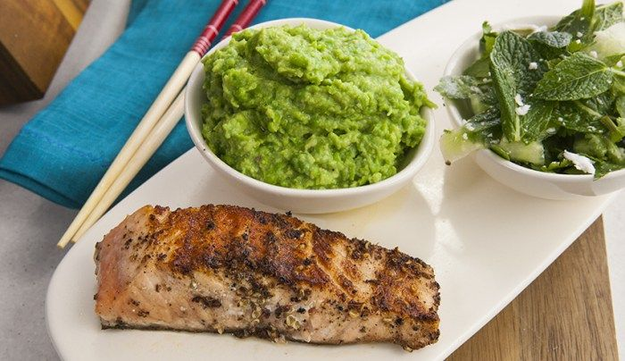 Szechuan Salmon with Wasabi Puree and Shaved Cucumber Salad - Good Chef Bad Chef