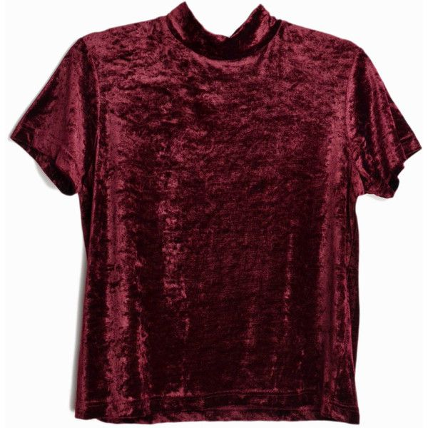 Vintage 90s Burgundy Crushed Velvet Top Short Sleeve Turtleneck Top... (€37) ❤ liked on Polyvore featuring tops, polo neck top, vintage tops, burgundy top, red top and velour tops