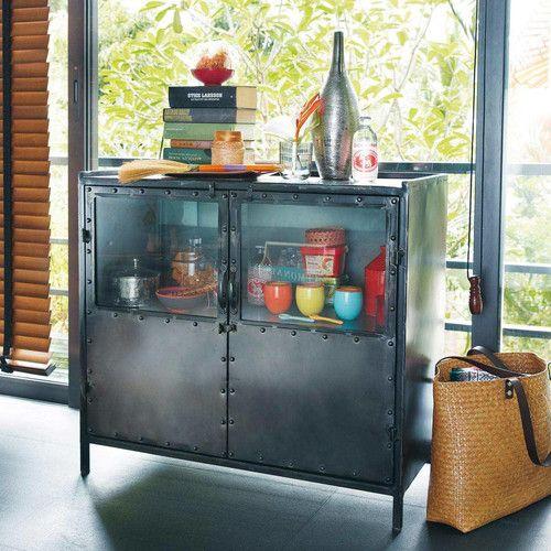 Anrichte im Industry-Stil aus Metall mit teilverglasten Türen, B 87cm, schwarz