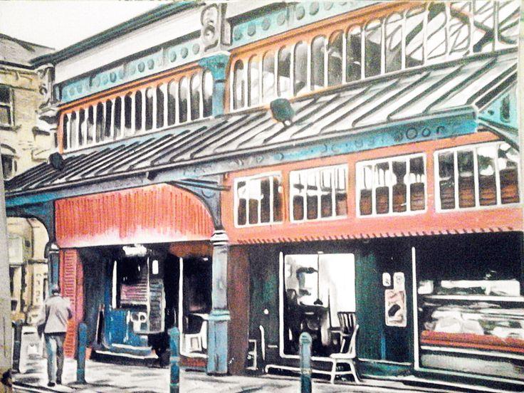 Watercolour of Huddersfield market