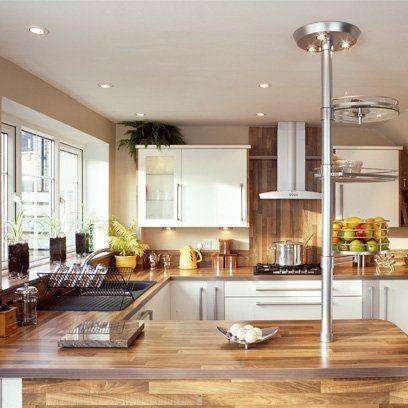 Scandi style kitchen with wooden worktops wooden for Kitchen ideas that work