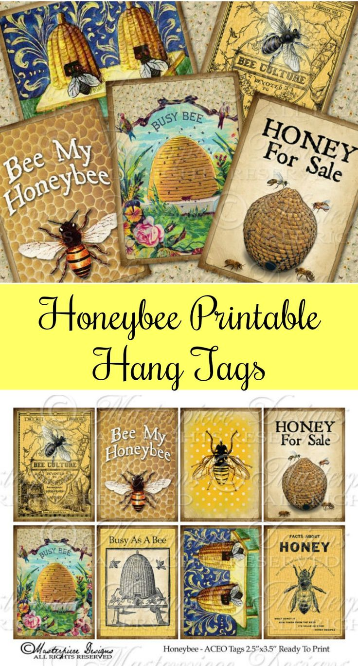Honeybee Printable Hang Tags Download and Print Collage Sheet #ad #Etsy #bees #printable