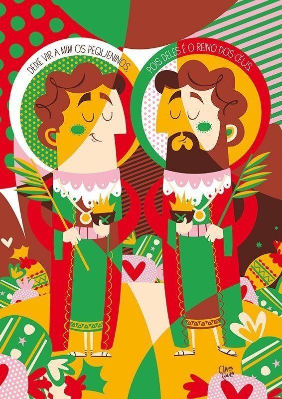 Pôster Cosme e Damião, Coleção Bença, criado pela ilustradora Clau Souza  https://loja.tenhaborogodo.com.br/poster-cosme-damiao