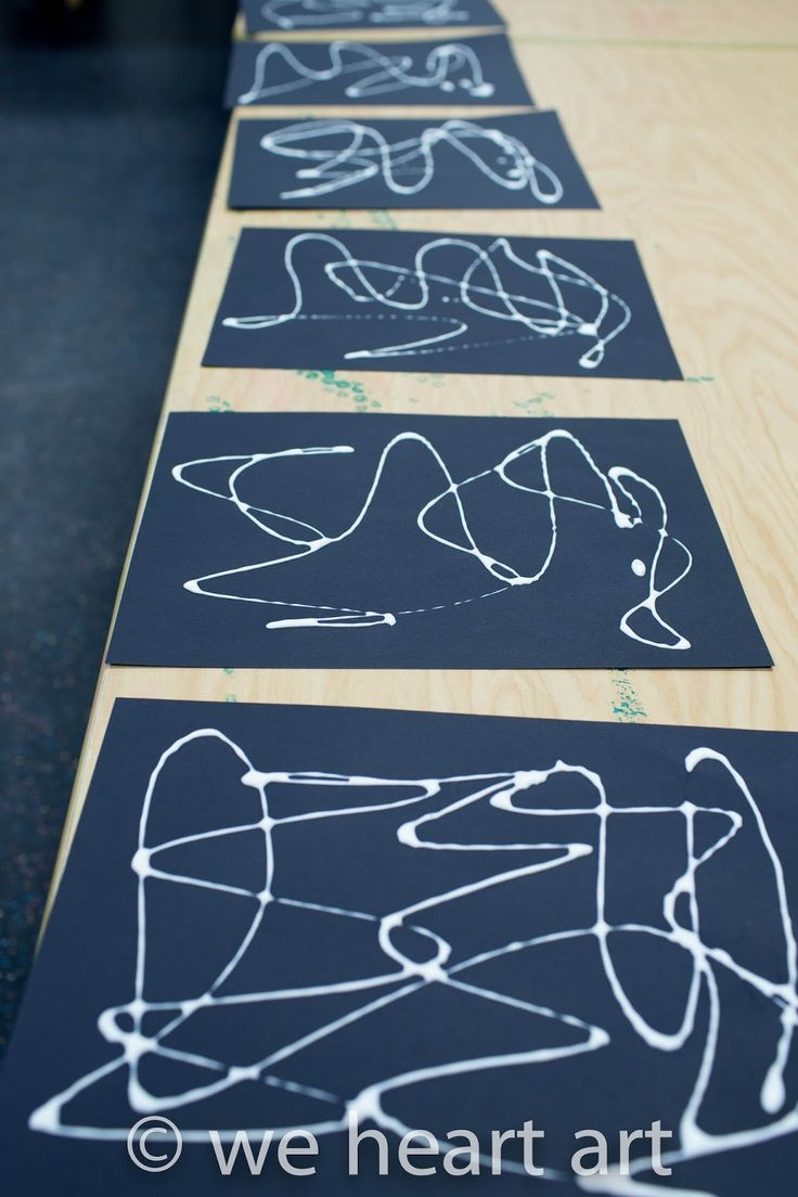 we heart art: Too Much Glue! line pattern shape, add chalky pastels for colour element