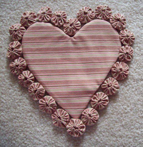 HeART ShaPeD HanDMaDE VaLEnTiNe YO YO DOILY Primitive Love Decoration COTTON Fabric Cotton Candy PINK Chocolate Brown TRIVET Hotpad SEWING Q...
