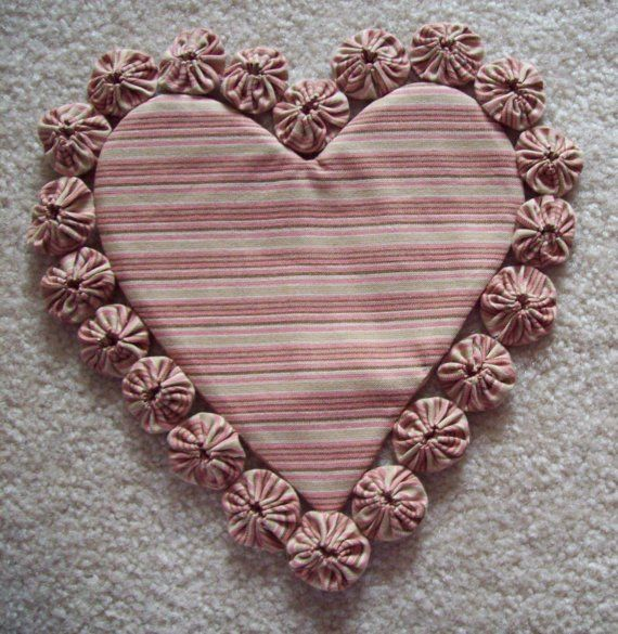 HeART ShaPeD HanDMaDE VaLEnTiNe YO YO DOILY Primitive Love Decoration COTTON Fabric Cotton Candy PINK Chocolate Brown TRIVET Hotpad SEWING Q...