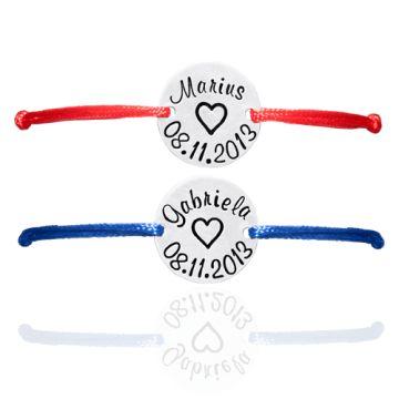 Set de bratari personalizate din snur de matase si banuti de argint   925 personalizati manual. Comenzi pe www.cadou-din-suflet.ro