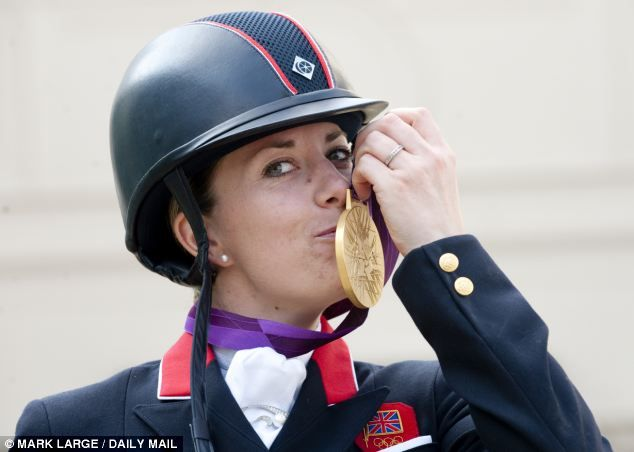 Charlotte Dujardin with her second Gold for Team GB after winning in the individual freestyle dressage.