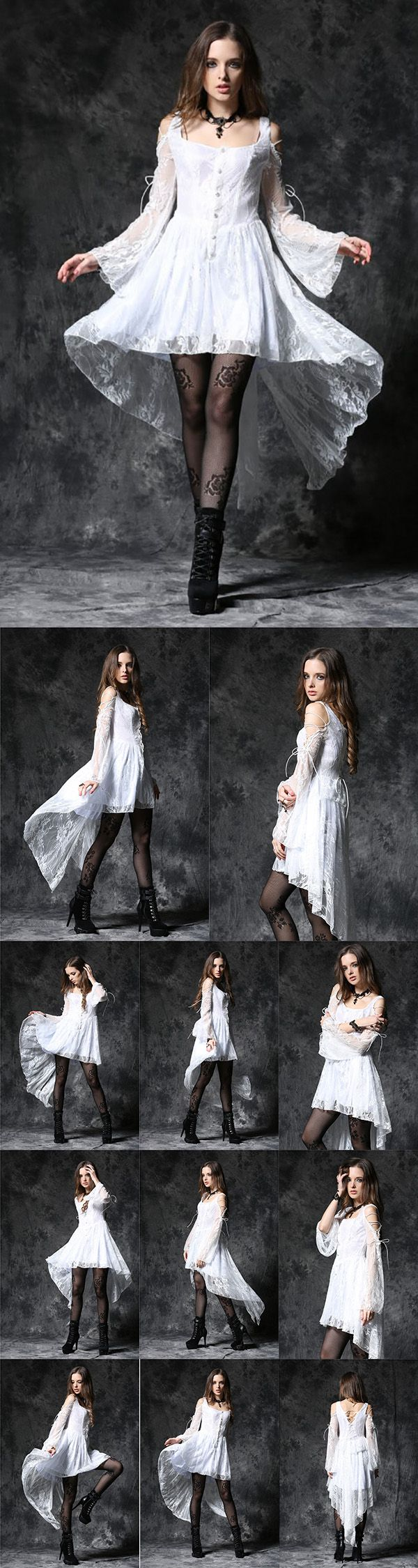 Dark In Love Gothic Ghost Dovetail Lace Dress with Button Front Detail - This is a stunning white lace gothic mini dress. Decorated with a row of white lace covered buttons down the front and long white train at the back. There are shoulder cut outs at the top of the flared sleeves which are laced with white cord. The back of the dress also has corset style cord lacing. Simply stunning addition to any wardrobe. From ANGEL CLOTHING