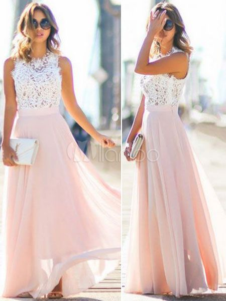 Chiffon Maxi Dress Two Tone Round Neck Sleeveless Pleated Long Dress For Women
