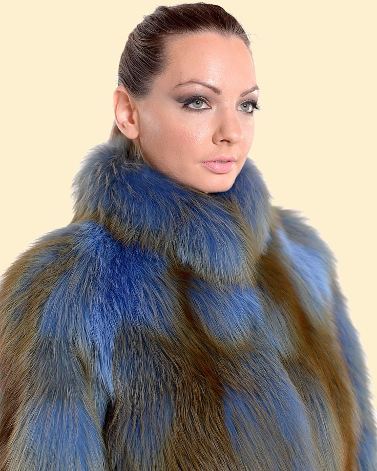 Unique blue fox fur jacket, making you really stand out.