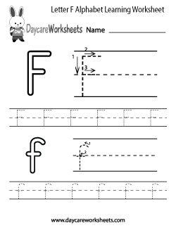 Preschool Letter F Alphabet Learning Worksheet