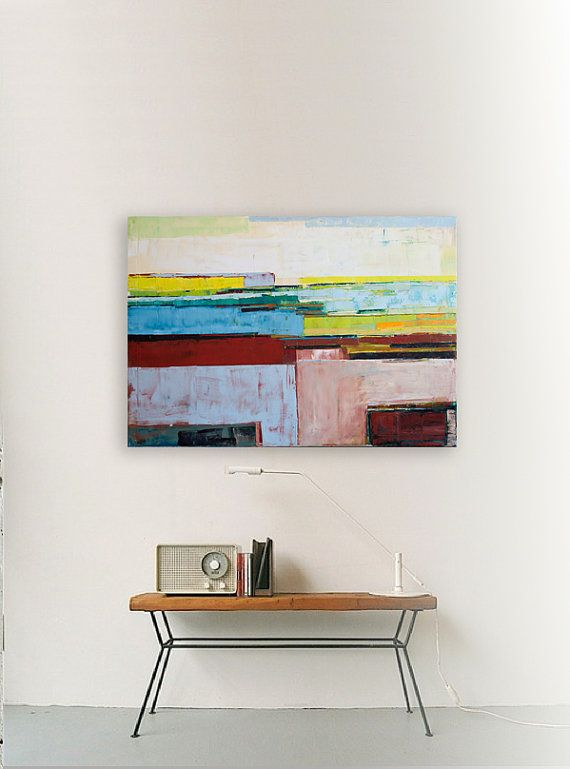 Abstract painting yellow and blue modern minimalist by INKAARTSHOP