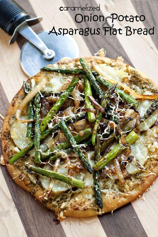 Potato Asparagus and Caramelized Onion Flatbread Recipe | heatherlikesfood.com #recipe