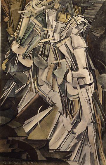 Nude Descending a Staircase by Marcel Duchamp (No.2)/Nu descendant un Escalier. No.2. 1912. Oil on canvas 147.5 x 89 cm.