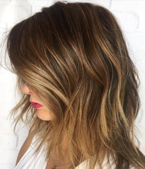 Choppy Medium Hair With Caramel Highlights - pretty