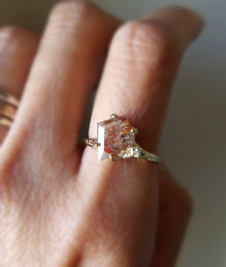 Paradise Guardian Rustic Diamond Ring * inspired by the beauties of finding the inner light * _________ ONE OF A KIND Can be sized from 4-7. Please put your desired size in notes section 14K Yellow Go