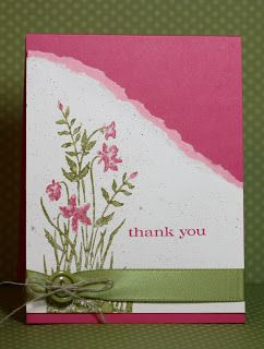 handmade card from Rita's Creations ... rose, white and olive .. torn edge ... like the color combo ...