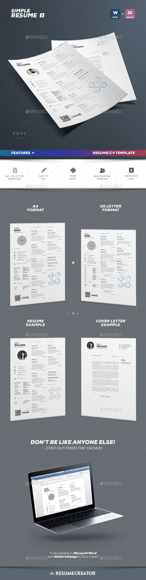 Simple Resume Vol. 2 - Resumes Stationery Feautures: Single Page Resume Template Indesign and Ms Word Version Indesign CS4 (or Later) Compatible Matching Cover Letter Included 300 Dpi – Print Ready CMYK Color Scheme Free Fonts Used A4 ISO 210×297 mm + Bleed Us Letter 8.5×11 in + Bleed Free Fonts Used: Aller: Download Open Sans: Download Package Content: Single Page Resume Template (Docx, Indd & Idml) Cover Letter Template (Docx, Indd & Idml) Help Guide (Pdf)