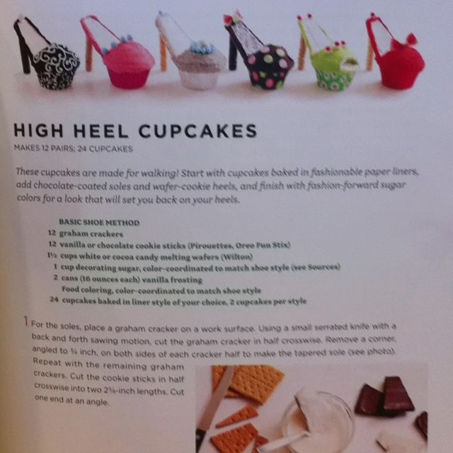 High Heel cupcakes - using a cookie cutter, cut a 1/2 circle out of one side for the sole of the shoe to set in (graham cracker). Heel - cookie stick cut at an angle on one end (dip that end in melted candy, secure to bottom of sole and let set for at least 20 mins).  See picture two for more decorating ideas.