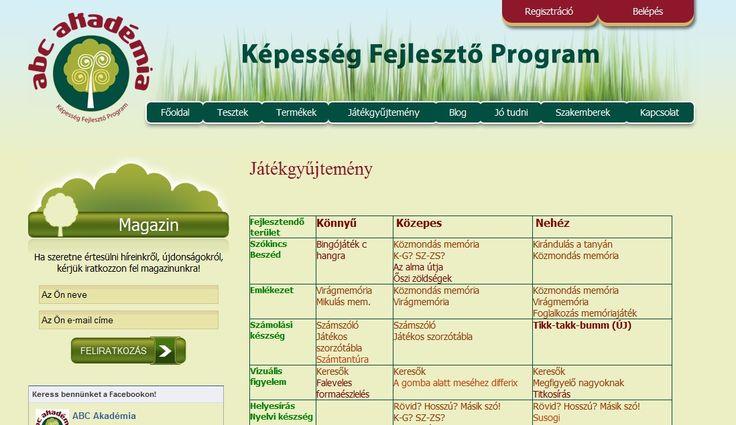 Képesség fejlesztő program - honlap - JÁTÉKGYŰJTEMÉNY menüje - játék leírások fejlesztendő terület és nehézség szerint (könnyű, közepes, nehéz)