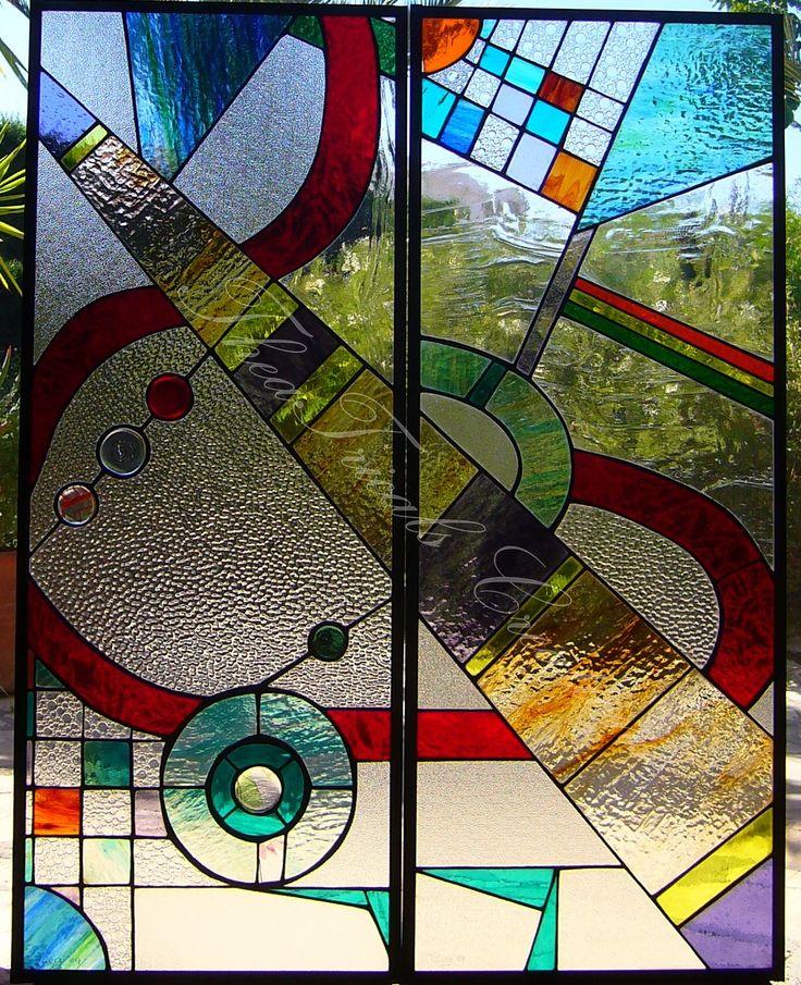 'kandinsky inspired' stained glass panel