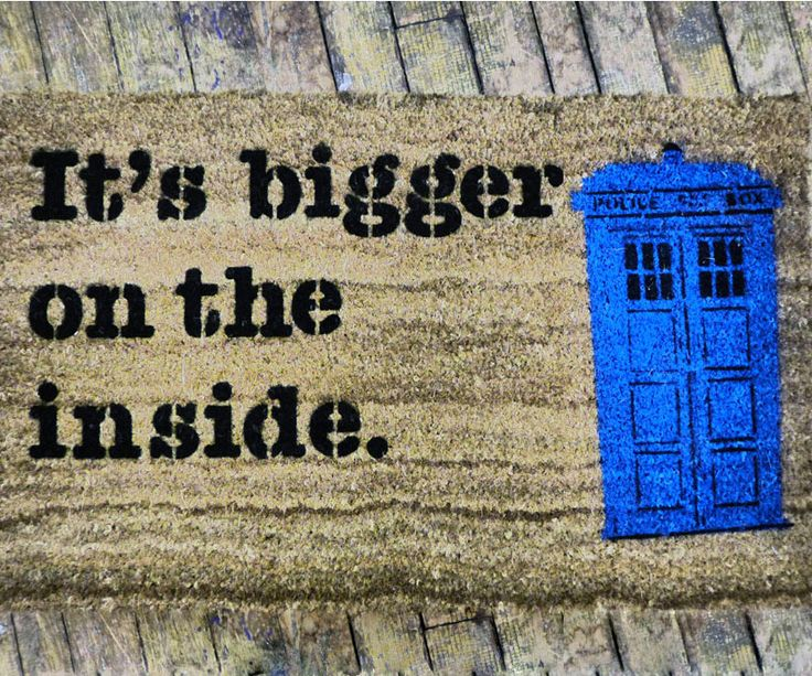 Inform guests they're entering a home of a true Whovian with the Doctor Who TARDIS doormat. This woven doormat commemorates the Doctor's iconic 'it's bigger on...