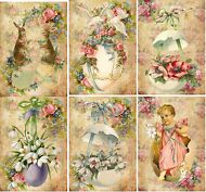 Vintage Easter antique pictures chicks eggs note cards tags scrapbooking set 6