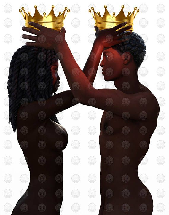 Black Love art Black Couple Crown Me by African